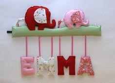 Dekoration - Namensschild Elefant Stoffbuchstaben - ein Designerstück von kleine-wichtelwelt bei DaWanda