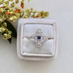white gold and sapphire diamond ring Diamond Jewelry, Jewelry Bracelets, Silver Jewelry, Fine Jewelry, Diamond Rings, Jewlery, Right Hand Rings, Sapphire Diamond, Antique Rings