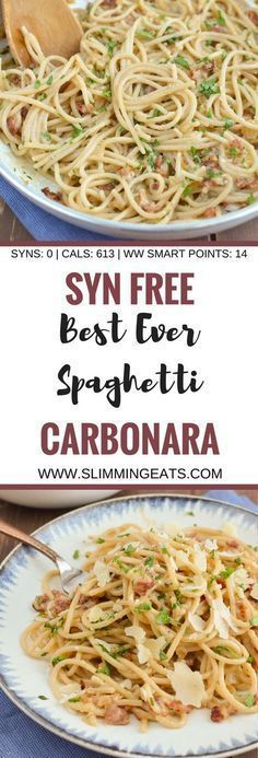 Slimming Eats Best Ever Syn Free Spaghetti Carbonara - gluten free, Slimming World and Weight Watchers friendly astuce recette minceur girl world world recipes world snacks Slimming World Tips, Slimming World Pasta, Slimming World Dinners, Slimming World Recipes Syn Free, Slimming Eats, Slimming World Lunch Ideas, Slimming World Fakeaway, Slimming World Chicken Recipes, Syn Free Food