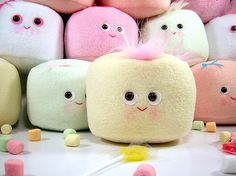 Wonderfully cute little pastel hued plush toy marshmallows. #kawaii #cute #marshmallows