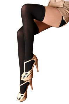 Amazon: 肉盛りしにくいニーハイソックス 黒 ブラック ナイロン素材 オーバーニーソックス レディース 靴下