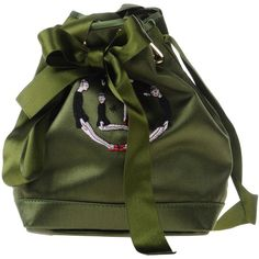 Olympia Le-tan Handbag (57.045 RUB) ❤ liked on Polyvore featuring bags, handbags, green, mini bucket bag, green purse, handbags bags, green handbags and studded bucket bag