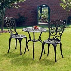 Aluminum Bistro Set Garden Patio 3 Pcs Weatherproof Outdoor Black  Conservatory | EBay