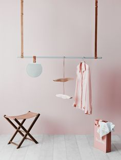 These colours....norsu laundry collection. ferm LIVING leather clothes hanger & Enter mirror, By Wirth Leather coat hanger, Barnaby Lane folding stool. Styled by Jacqui Moore and Julia Green of Greenhouse Interiors and photographed by Lisa Cohen photography.