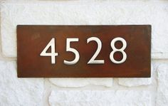 Rustic Modern Metal Address Plaque with (4) Brushed Aluminum House Address Numbers, Hangs Vertically or Horizontally