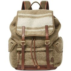 Fossil Men's Defender Wool Rucksack ($268) ❤ liked on Polyvore featuring men's fashion, men's bags, men's backpacks, olive, mens laptop backpack and mens backpacks