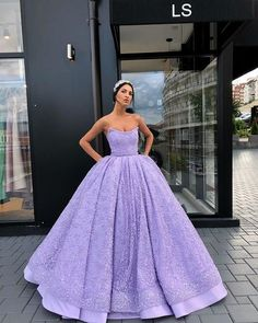 Strapless Beading Long Evening Dress 2019 A-Line Appliques Sleeveless Ball Gown Formal Party Dress Robe De Soiree Poofy Prom Dresses, Lavender Prom Dresses, Quince Dresses, Ball Gowns Prom, Ball Gown Dresses, 15 Dresses, Evening Dresses, Light Purple Prom Dress, Lavender Quinceanera Dresses