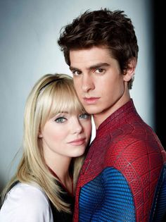 Gwen Stacy and Spider-Man/Peter Parker. Played by Emma Stone and Andrew Garfield.