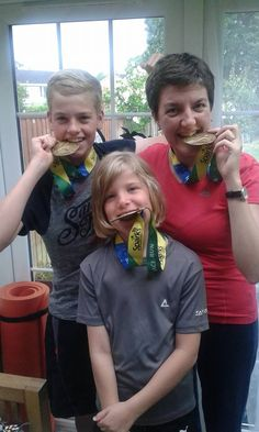 A 3 way tie for their Gold Rush Virtual Race medals! Gold Rush, Tie, Racing, Cravat Tie, Auto Racing, Ties