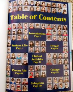 Table of contents idea for a yearbook- Instead of using face disguises, have everyone with their hands up like a HIGH 5.