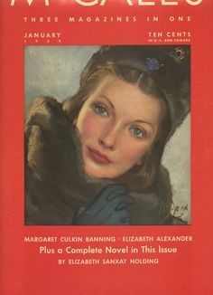 1938 Magazine Cover Art  Lovely Woman in a Fur by SunshineBooks
