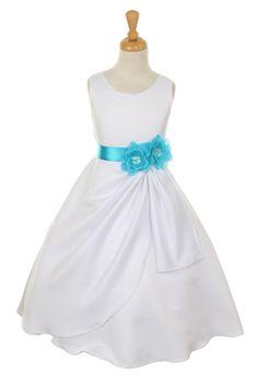 long aqua flower girl dresses   Girls Long White Dresses with Turquoise Flower and Sash