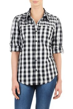 I this Gingham check smocked yoke shirt from eShakti Fall Shirts, Plaid Shirts, Black And White Tops, Gingham Check, Cotton Blouses, Smocking, Long Sleeve Shirts, Cute Outfits, Clothes For Women