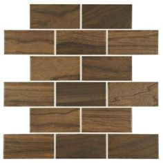 Daltile Parkwood Brown 12 in. x 12 in. Ceramic Brick Joint Mosaic Tile (10 sq. ft. / case)-PD1324BWHD1P2 - The Home Depot
