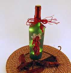 Wine bottle light chili peppers home decor by LightBottlesByVicki Painted Wine Bottles, Lighted Wine Bottles, Bottle Lights, Wine Glass, Glass Art, Chili Festival, Red Chili Peppers, Upcycled Home Decor, Wine Bottle Crafts