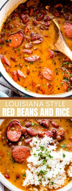 Tender red beans and spicy Andouille sausage are cooked into a full-bodied dish that's heavy on aromatics and authentic flavor. It's that classic Southern comfort food, Louisiana Red Beans and Rice! #beans #beansandrice #porkandbeans Entree Recipes, Bean Recipes, Rice Recipes, Easy Dinner Recipes, Easy Meals, Cooking Recipes, Cajun Recipes, Dinner Ideas, Southern Red Beans And Rice Recipe