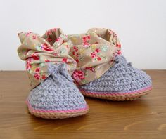 CROCHET PATTERN Baby Booties with fabric cuffs by matildasmeadow