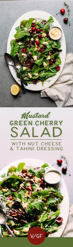HEALTHY Mustard Green Salad with Cherries, Toasted Almonds, Nut Cheese, and Tahini Dressing! 30 min, 10 ing #vegan #glutenfree #salad #recipe #minimalistbaker