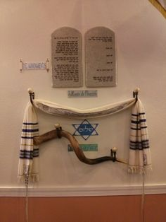 Judaica Display ...shofar, talit, 10 commandments
