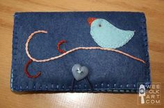Tea Wallet with Little Birdie on a Branch | Wee Folk Art. I so want to make this for my female family members but they can use it for sweeteners or whatever.