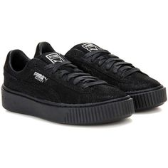 Puma Basket Platform Reset Suede Sneakers (€70) ❤ liked on Polyvore featuring shoes, sneakers, sapatos, black, puma trainers, suede trainers, platform shoes, suede leather shoes and black suede sneakers