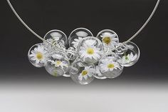 Daisies for Days Necklace, lampworked glass bubbles $390