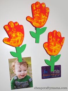 Moms and grandmas will love the kids' handprint and footprint crafts for Mother's Day! We all love handprints and footprints from infants. Daycare Crafts, Classroom Crafts, Baby Crafts, Toddler Crafts, Preschool Crafts, Crafts To Do, Crafts For Kids, Hand Print Flowers, Mother's Day Projects