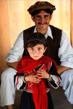Pashtun man and his daughter in  Afghanistan