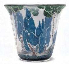 marcel goupy | MARCEL GOUPY (1886-1954) Vase de forme arrondie en verre transparent ...