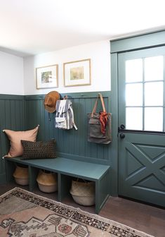 Evergreen House: Mudroom Reveal (and Our Favorite Moody Paint Colors!) - Juniper Home Benjamin Moore Caldwell Green Sage Green Kitchen, Green Kitchen Cabinets, Sage Green House, Evergreen House, Mudroom Laundry Room, Mudroom Cabinets, Room Paint Colors, Furniture Paint Colors, Entryway Paint Colors