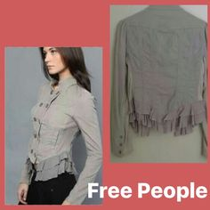 Free people jacket Taupe color! This is an adorable flirty and light jacket.  Super soft corded cotton with ruffled bottom! Cute front side pockets and doubled button closure. Has wide side band that stretches to accommodate sizes 4-8. Perfect condition! Free People Jackets & Coats