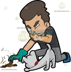 A Man Picking Up Some Stinky Dog Poo :  A man with dark hair wearing a black shirt gray pants blue with black shoes aquamarine colored glove on his right hand bends down on one knee as he pinches his nose with his left hand as he reaches to grab the stinky brown poop of his white puppy with red collar  The post A Man Picking Up Some Stinky Dog Poo appeared first on VectorToons.com.