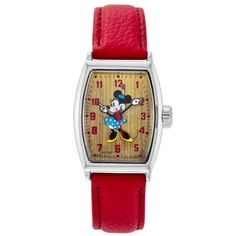 Ingersoll Women's IND 25646 Minnie Mouse Watch with Red Band. Tonneau-shape watch featuring pebbled faux-leather strap and wood-look dial with Minnie Mouse graphic. 38 mm metal case with glass dial window. Quartz movement with analog display. Polyurethane band with buckle closure. Not water resistant.
