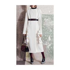 Marni Cotton Crepe Long Ruffle Coat ($2,310) ❤ liked on Polyvore featuring outerwear, coats, cotton coat, white collarless coat, long white coat, marni coat and marni