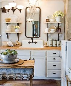 take out that antique fridge & this could easily fit into the bathroom for a neat look, too