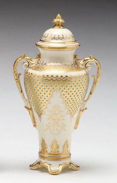 696: Small Coalport porcelain 'jeweled' covered vase, C : Lot 696
