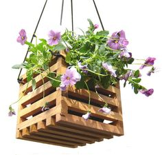 Hanging Planter Basket from Recycled Wood Garden Decor. $43.00, via Etsy.
