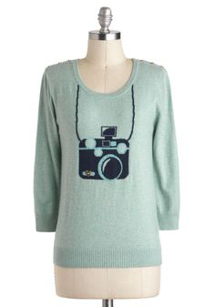 Picture This Sweater - Blue, Casual, Long Sleeve, Novelty Print, Buttons, Mid-length, Mint