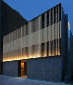 Exterior Details | Wood Slats | Uplighting Architecture Panel, Residential Architecture, Contemporary Architecture, Architecture Details, Facade Lighting, Exterior Lighting, Building Facade, Building Exterior, Facade Design
