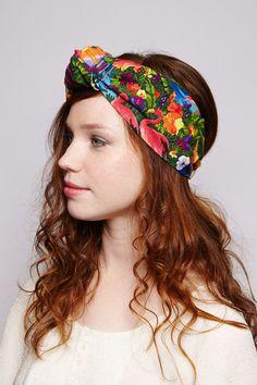 Buntes Haarband mit tropischen Motiv und Flamingos / tropical headband with knot, flamingo print made by Glück Factory via DaWanda.com