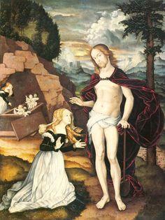 "Hans Baldung Grien ""Christ as a Gardener (Noli Me Tangere)"", 1539 Noli Me Tangere, Renaissance Kunst, Renaissance Time, Catholic Art, Religious Art, Jesus Ressuscité, Hans Baldung Grien, Maria Magdalena, Hans Holbein"