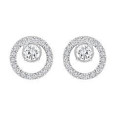 7d5308b35 Swarovski Creativity Circle Pierced Earrings, Small, White, Rhodium plating  - The Sterling Silver Com