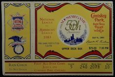 1983 MLB All Star Game stub