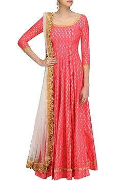 Umrao Mirza presents Coral foil work kalidaar anarkali kurta with off white dupatta available only at Pernia's Pop Up Shop. Kurta Designs, Kurti Designs Party Wear, Blouse Designs, Indian Attire, Indian Ethnic Wear, Indian Outfits, Long Gown Dress, Saree Dress, Long Frock