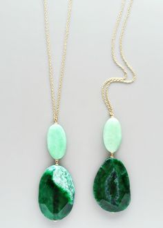 Emerald Sea Double Quartz Necklace