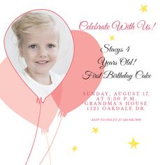 """Pink Balloons Party"" printable invitation. Customize, add text and photos. Print for free!"
