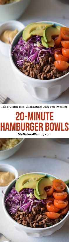 20-Minute Healthy Hamburger Bowl Recipe {Paleo, Gluten-Free, Clean Eating, Dairy-Free, Whole30} - these pull together quickly for a simple weeknight meal. The flavoring on the hamburger is what makes this dish!