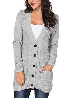460ae13809f Happy Sailed Damen Langarm Strickjacke Cardigan Strickcardigan mit Knopf  S-XXL
