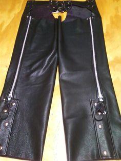 Handmade black leather chaps.