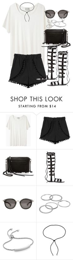 """""""Outfit with lace up gladiator sandals"""" by ferned ❤ liked on Polyvore featuring Base Range, Rebecca Minkoff, Raye, Moncler, Apt. 9, Monica Vinader and Lanvin"""